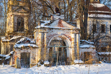gate arch of an abandoned orthodox church, bogoroditskaya church of the village of kishino, kostroma district, russia, year of construction 1821, currently abandoned
