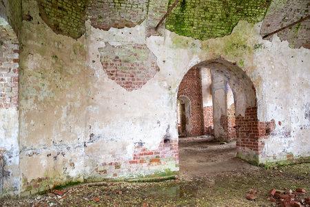 interior of the destroyed Orthodox church, Troitsky village, Kostroma region, Russia