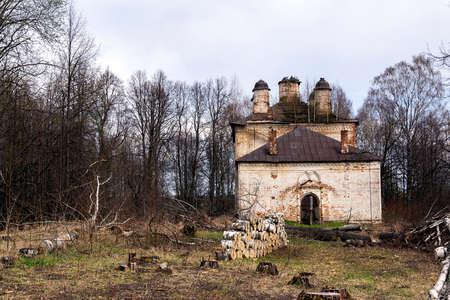 old abandoned Orthodox church, village of Ustye Neiskoye, Kostroma region, Russia, built in 1796