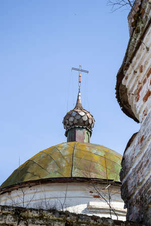 the dome of the destroyed temple, Kozyura village, Kostroma region, Russia, built in 1829