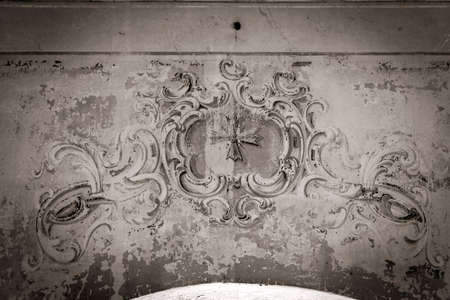 drawings on the walls of an abandoned Orthodox church, the temple complex of the village of Ilyinsky on the Shacha River, Kostroma region, Russia, built in 1760, 1772. The complex is currently abandoned