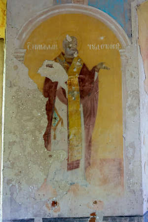 painting of the walls of an abandoned Orthodox church, Russia, Vladimirovo tract, built in 1809 currently the temple is abandoned