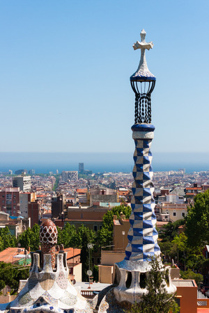 The well-known monument in Park Guel in Barcelona.
