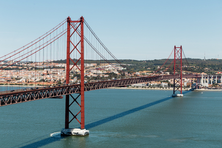 salazar: Panorama 25th of April Bridge in lisbon, Portugal. Stock Photo