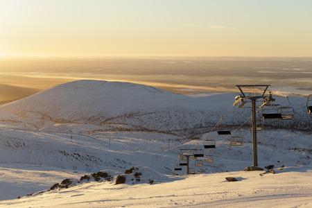 The lift on the mountain Hibiny in the sun.