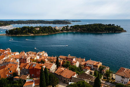 katarina: The panoramic view from the bell tower Church of St. Euphemia in the old town of Rovinj, Croatia on Island of Sveti Ivan, Katarina island and Crveni Otok