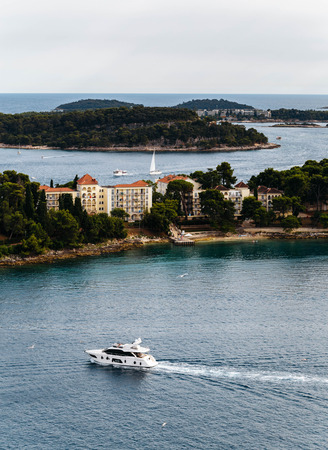 katarina: The view from the Church of St. Euphemia on sea, boat and Island of Sveti Ivan, Katarina island and Crveni Otok.