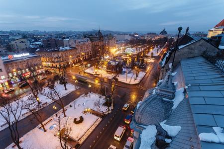 Lviv, Ukraine - February, 2014 - top view Liberty Square on the avenue in the winter evening in Lviv, Ukraine.