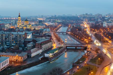 Top view of the Annunciation Cathedral, Zalopan district and center of Kharkiv. Lopan Bridge, Kupecheskiy Bridge, Bursatsky bridge over the river Lopan. Reklamní fotografie - 67846166