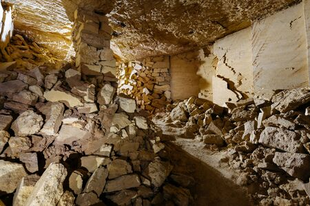 The biggest catacombs in the world. The small room in the catacombs of Odessa. Reklamní fotografie - 69713808