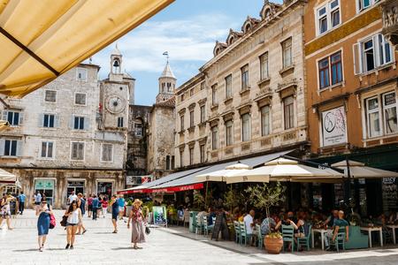 croatian: Split, Croatia - July, 2016 - Summer sun Peoples Square with people in Split, Croatia. Editorial
