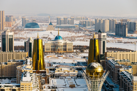 Top view of the presidential residence Ak Orda, the House of Ministries and the Nur-Jol Boulevard with the Baiterek Monument in Astana, Kazakhstan. Stock Photo