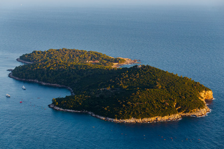 View from the top of the mountain Srdj to the Island of Lokrum in Dubrovnik, Croatia.