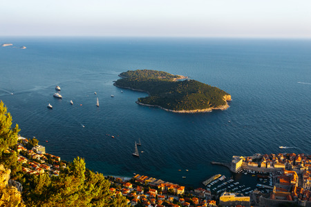 View from the top of the mountain Srdj to the Island of Lokrum in Dubrovnik, Croatia Reklamní fotografie