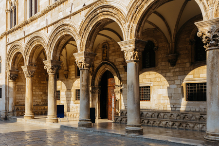 princely: Gothic Rectors palace with Renaissance and arched constructions in Dubrovnik, Croatia. Stock Photo
