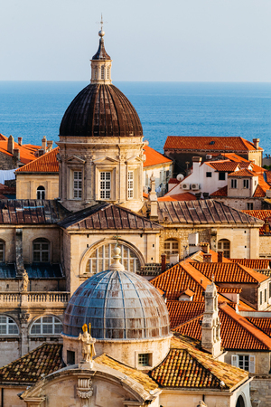 Assumption Cathedral, Church of Saint Blaise in the old part in Dubrovnik, Croatia. Stock Photo
