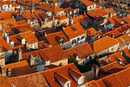 Top view of the roofs with red tiles of European houses in Dubrovnik, Croatia