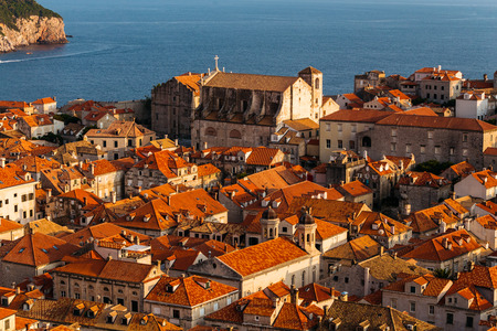 View from the top of the old part of the city to Dubrovnik, Croatia.