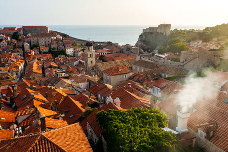 View from the roof to the entire old part of the city to Dubrovnik, Croatia.