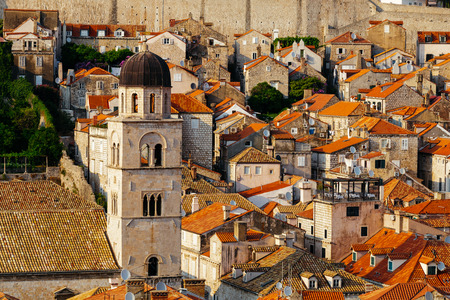 Franciscan Monastery and Museum in the background of roofs with tiles in Dubrovnik, Croatia. Reklamní fotografie