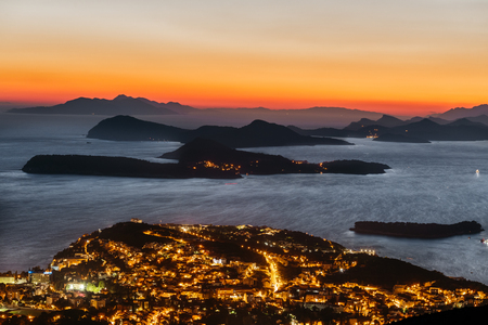 Incredible Sunset over the sea in the city of Dubrovnik, Croatia. Reklamní fotografie