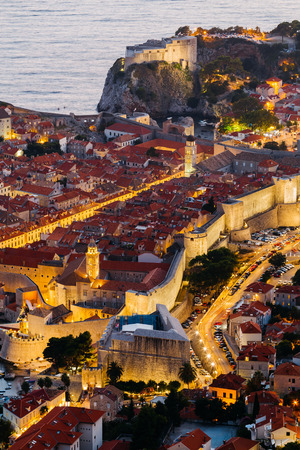 Top view of the old part of Dubrovnik in the evening with illumination. Reklamní fotografie