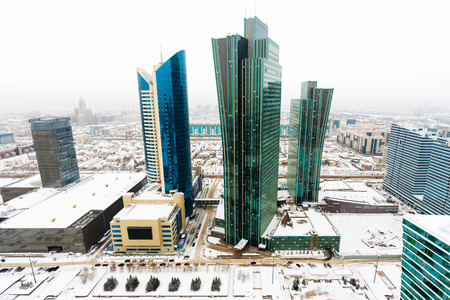 Top view of the office block in the center of Astana, Kazakhstan