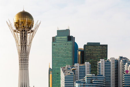 The Baiterek Monument and the business center with the new architecture of Astana, Kazakhstan.