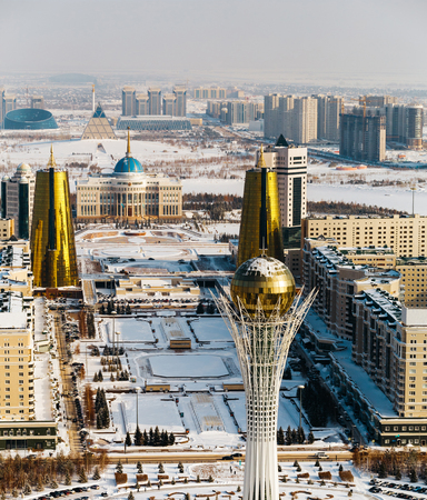 Top view of residence Ak Orda, House of Ministries and Nur-Jol Boulevard with Baiterek Monument in Astana, Kazakhstan.