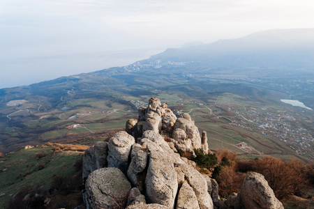 View from the southern Demerdzhi to the Chomachay Rocks and the Black Sea coast in the Valley of Ghosts in the Republic of Crimea.