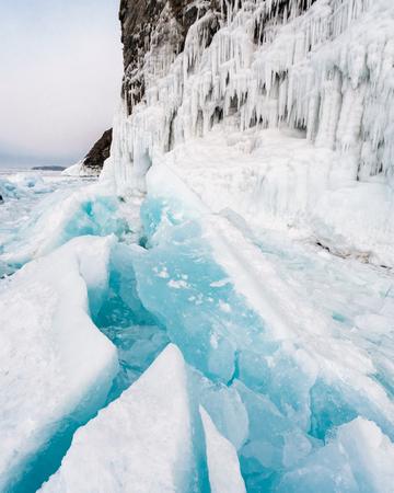 Huge chunks of ice stick out. Baikal, Russia Banco de Imagens