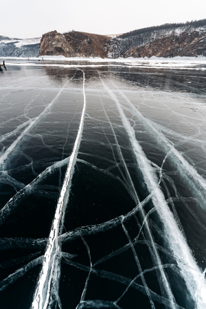 Huge cracks in the ice of Lake Baikal, Russia.
