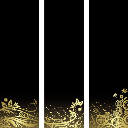 黒と金の要素  イラスト・ベクター素材