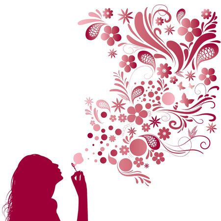 woman blowing: Woman and bubbles Illustration
