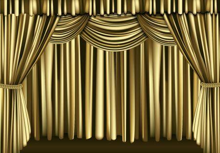 intermission: Golden theater curtain