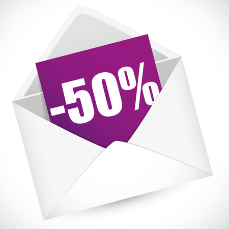 post it notes: 50 percent full vector illustration for sale event