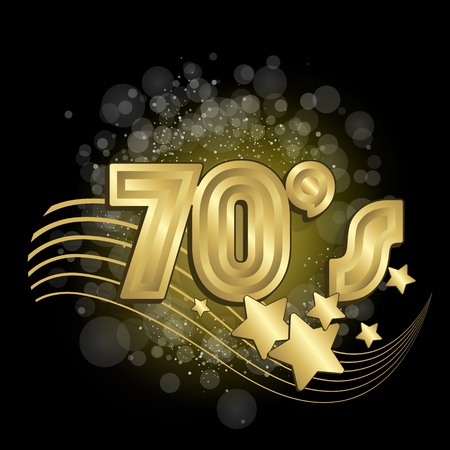 70s disco: Black and gold retro styled vector illustration