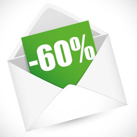 post it note: 60 percent full vector illustration for sale event Illustration
