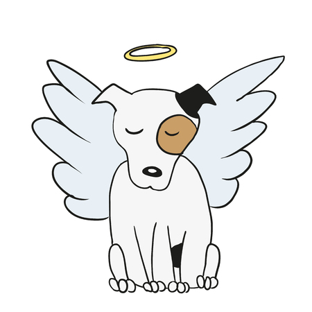 deceased: Vector cartoon of an angel in heaven dog