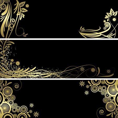 ブラックとゴールドのベクター背景アート完全