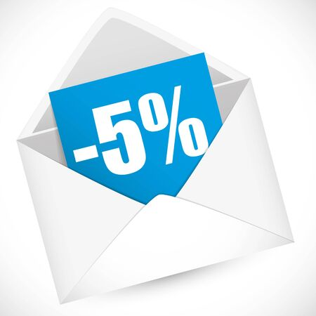 post it notes: 5 percent full vector illustration for sale event
