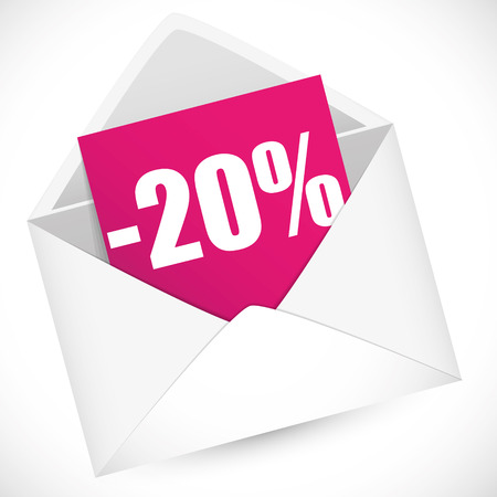 post it note: 20 percent full vector illustration for sale event