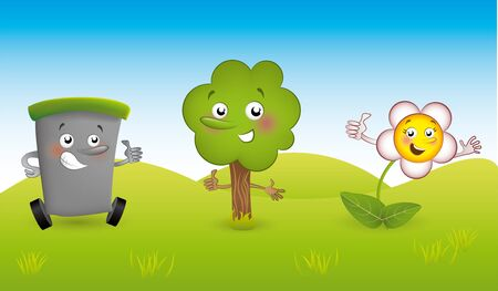 vector cartoons: Vector cartoons Elements sustainable development theme