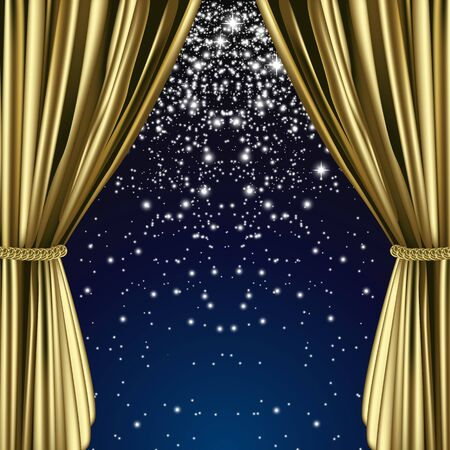 starry: Full vector art theater curtain background theme