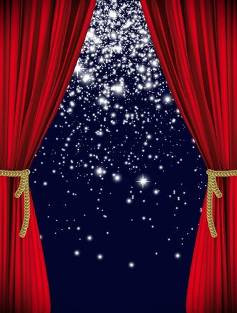 Volledig vector het gordijn van het art theater thema als achtergrond Stock Illustratie