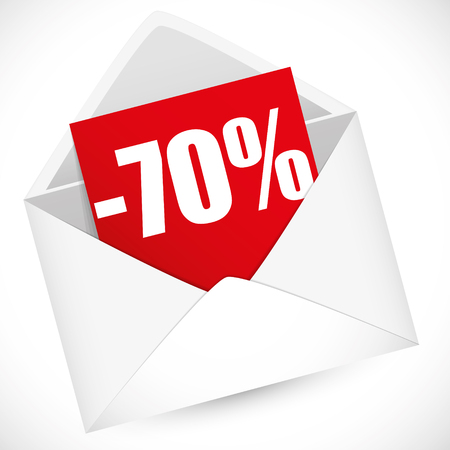 post it note: 70 percent full vector illustration for sale event
