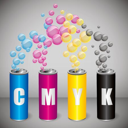 offset view: CMYK cans Illustration