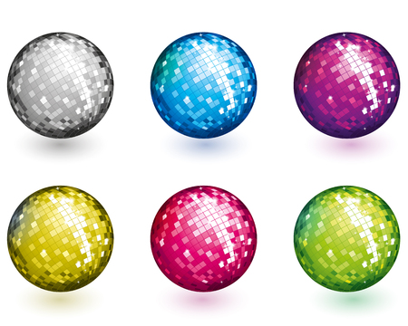 mirror ball: Color disco balls Illustration