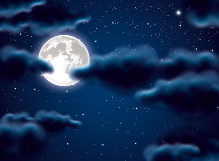 full moon romantic night: Full moon and clouds Illustration