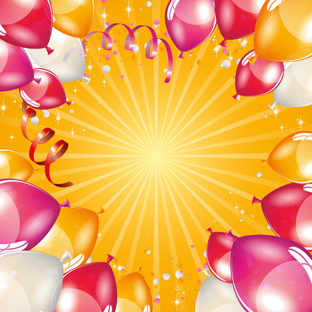 inflated: Orange balloons background Illustration